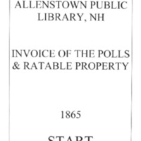 Allenstown Invoices of the Polls & Ratable Property 1865