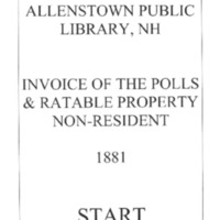 Allenstown Invoices of the Polls & Ratable Property Non-Resident 1881