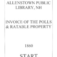 Allenstown Invoices of the Polls & Ratable Property 1860