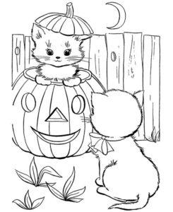 cute-little-cat-in-pumpkins-play-with-her-friend-coloring-page